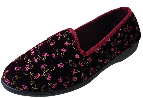 Cuatro Estaciones Señoras Etiqueta Frontal vino Velour Floral Zapatillas Outdoor / fuera De Suela