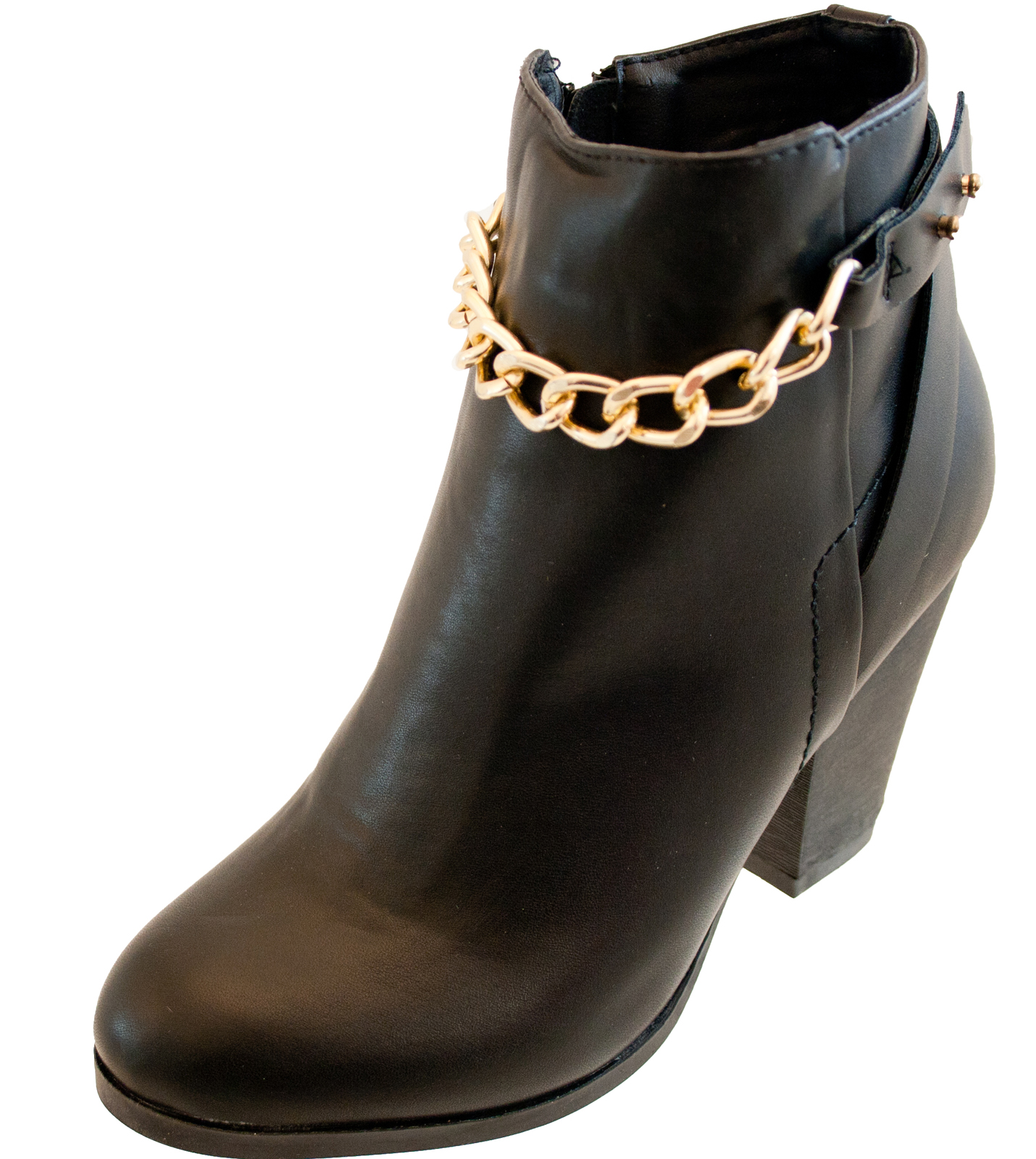 new look gold chain black faux leather zip ankle